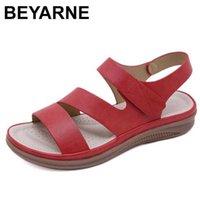 BEYARNE summer shoe retro beach sandals round head slope comfortable light casual 210619