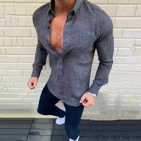 Camicie casual da uomo 2021 primavera stile estivo in cotone in lino con risvolto camicia maschio a maniche lunghe top di buona qualità camisas parà hombre