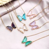 Crystal Butterfly Pendant Necklace For Women Glamour Female Color Butterfly Jewelry