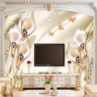 Wallpapers Custom Size Murals 3D Stereo Champagne Tulip Jewelry Wall Painting Living Room El Luxury Background Self Adhesive Wallpaper