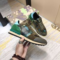 Mujeres Hombres Camuflaje Sneaker Zapatos casuales Remache clásico Tachonado Plano de malla de gamuza de cuero grande 35-46