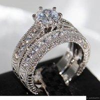 Bijoux rétro Lovers Griffe Set de 8mm Topaz GEM 14kt Bague de mariage de fiançailles en or n ° 14kt en or n ° 14kt pour le cadeau de Noël SZ 5-11