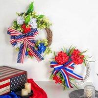 Декоративные цветы 40см американский национальный венок Независимость День независимости бантом ротанга гирлянда дверной кулон окно украшения сцены HWF7767