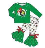 3 años Trajes de edad Girl Sets Christmas Dibujos animados Impresión Pliegos Ropa para niños Venta al por mayor Grinch Baby Traje para niñas Set