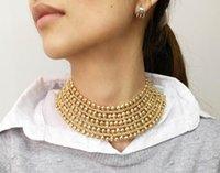 Mainilai Chunky Metal Declaração Colar para Mulheres Pescoço Bib Collar Gargantilha Colar Maxi Jóias Golden Silver Colors