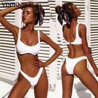 Viniknika Новая высокая талия бикини бикини набор женщин сексуальный летний пляж бразильский купальник с твердым строптивым высококачественным купальником 210323