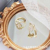 Coreano Quattro foglia trifoglio Ringgirls squisito fashiongirls oro aperto rosso semplice ragazza indice anello dito 02x2