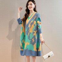 Повседневные платья Cangpleat Miyak Pliated Fashion V-образным вырезом женские платья напечатаны Свободные 3/4 рукав женские a-line