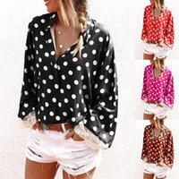 Moda Giyim Bayan Dantel Kollu Polka Dot Gömlek Tasarımcı Uzun Kollu Famale Rahat Yaka Boyun Gömlek Bayanlar