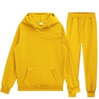 Men's Hoodies & Sweatshirts 2021 Autumn Winter Fleece Hoodies+Pants Two Piece Set Men Womens Tracksuits Jogger Pants Thick Warm Clothes