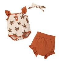 Toddler Clothing Sets Girls Outfits Baby Clothes Kids Suits Children Summer Cotton Romper Jumpsuit Shorts Headbands 3Pcs 0-2T B5274