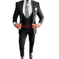 Custom-made One Button Groomsmen Peak Lapel Groom Tuxedos Men Suits Wedding Prom Dinner Man Blazer(Jacket+Pants+Tie+Vest) W962