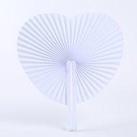 Coração redondo em forma de papel de dobramento Fan DIY Branco Vazio Hand Held Fan para presentes de festa de aniversário de casamento