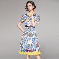 Летнее платье женские ретро синий и белый фарфоровый цветочный принт с коротким рукавом MIDI платье Vestidos 210518