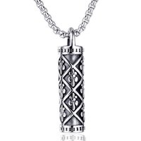 Fashion Men Stainless Steel Cross Chrom&Hearts Bible Cylinder Necklaces Vintage Silver Titanium Steels Bottle Commemorate Pendant Necklace Jewelry Accessories