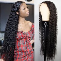 Long Curly Brazilian Deep Wave Frontal Wigs For Black Women Synthetic Lace Front Wig 13x4 HD Wet And Wavy Water Wave Hair