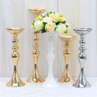 Dekorative Blumen Kränze Gold Weiß Silber Kerzenhalter Metall Kerzenständer Blumenständer Vase Tisch Mittelstück Ereignis Rack Road Blei Mi