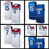 EE.UU. Jersey 2021 Tokyo Olympics Summer United Devin 15 Booker Basketball Stater National Kevin 7 Durant Jayson 10 Tatum Damian America Lillard Hombres White White Aleat Feel