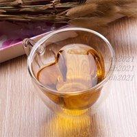 180 مل 240 مل 24 ساعة مزدوجة الجدار الزجاج أكواب القهوة شفافة على شكل قلب أكواب الشاي شاي مع هدايا رومانسية
