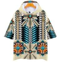 Native Indian Wolf 3D stampato manica corta maglietta con cappuccio con cappuccio donne uomini harajuku divertente grafica tees ragazzi ragazze adolescenti top pullover