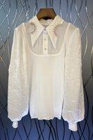Design Sense Lantern Sleeve Jacquard Stitching Shirt Womens Autumn European and American New Elegant Top 9S