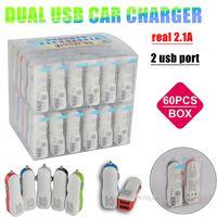 Caricabatteria da auto Dual USB 2100mA Due caricabatterie a strisce colorate USB 2.1A Caricabatteria da auto funziona con GPS tutto il telefono cellulare con scatola PVC e codice a barre a barre UPC