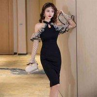 Удобное с плеча сексуальное формальное платье перспективы рукава оборками высокое качество лоскутное карандаш моды прибытие 210520