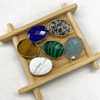 Charms Natural Stone Pendant Malachite Lapis Lazuli Opal Oval Mineral For Handmade DIY Necklace Jewelry Accessories 2 Pieces