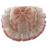 Lace With Pearl Bows Pet Bibs Collar For Cats Puppies Dogs Plaid Washable Adustable Puppy Scarf Tie Necklace Jewelry Goods Cat Collars & Lea
