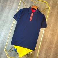 Polos Men Designer T Рубашки Классический модный отворот водонепроницаемый молния украшения лето должен иметь красный вертикальный бар логотип буква шаблон импортированных хлопковых летних вершин