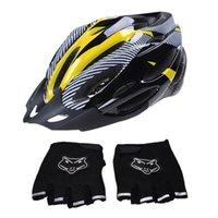 Cycling Helmets ELOS-1 PCS Bicycle Bike Helmet Adjustable Protection Yellow & 1 Pair Motorcycle Motorbike Riding Racing Fingerless