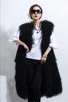 Comprimento completo Mongólio preto Woo carneiro cordeiro colete de pele gilet casaco outwear longo casacos mulheres mulheres 2021 tibet feminina feminina