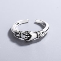 Women Men Hand Shape Open Ring Metal Couple Finger Rings Gift for Lover Fashion Jewelry Accessories