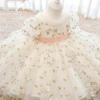 Mädchen Kleider PLBBFZ Kleinkind Baby Mädchen Kleid Blume Taufe Kleidung Spitze Stickerei Erster Geburtstag Party Prinzessin Tutu