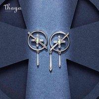 Thaya Design S925 Silver Needles Earring Cross Priest Earring Plated 18K Gold Zircon Stud For Fashion Girl Fine Jewelry Gift 210325