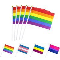 № 8 полосатый гей розовый радуга ЛГБТ флаг 14 * 21 Печать того же секса гордость ремня PE пластиковая флагштока рука флагов