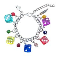 Cute Romantic Acrylic Cartoon Dice Style Resin Candy Colors Stainless Steel Charm Chain Bracelets Sexy Women CY005-006 Link,