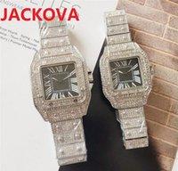 Mens diamonds ring Lady watches Women Square Roman Dial Designer Wristwatches full stainless steel quartz watch Super luminous Sapphire glass montre de luxe