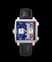 고품질 럭셔리 캐주얼 44mm 남자 광장 VK64 쿼츠 시계 코팅 유리 원래 핀 버클 멀티 컬러 망 손목 시계
