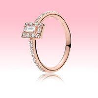 Новая мода розовое позолоченное обручальное кольцо высокого качества ювелирные изделия для Pandora 925 серебряные женщины сверкающие квадратные кольца ореол с оригинальной коробкой