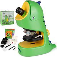 Telmu Kids Microscópio 40x-400x ampliação, experimento de ciência kit de microscópio portátil com lâminas de microscópio, luz LED, brinquedos educativos