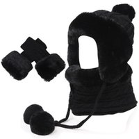Lady Knitting Wool Keeps You Warm Winter Northeast Cap With Pile Thick Ear Beanies Sets Girls Collar Scarf Hats Glove Accessory Beanie Skull