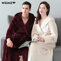 Kadın Pijama Kış Kalınlaşmak Uzatılmış Sıcak Bornozlar Kadınlar Için Çift Katmanlar Flanel Kapüşonlu Bornoz Bornoz Gelin Çiftler Mercan Polar Gece D