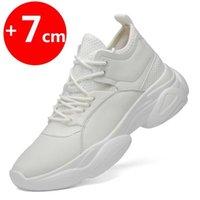 Ascensor para Hombres Altura Aumentar Zapatillas Blancas Plantilla negra 7cm Zapatos de mujer 201217