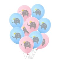 Party Decoration 10Pcs 12inch Cartoon Latex Balloons Children Birthday Blue Pink Elephant Baby Shower Decorations Favor
