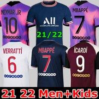 PSG.축구 유니폼 Maillots 축구 20 21 22 Mbappe Icardi Shirt 남자 키즈 Maillot 드 발 Hommes kimpembe 4th Gana Kean Neymar Marquinhos