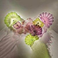 Современные лампы Художественное Дизайн Мурано Стеклянные Платтеры 7 шт. Настенная тарелка для дома Фиолетовый зеленый тональный моря Роскошный стиль висит декоративная стена искусства