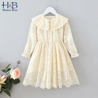 European And American Children'S Clothing Autumn Girl Lace Hollow Doll Collar Dress Party Birthday 210507