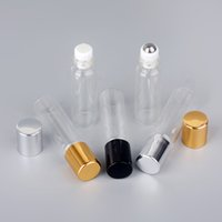 100 Pcs Lot Mini Glass Perfume Bottles With Roll On Empty Cosmetic Essential Oil For Travel With Glass Steel Ball Roller Bottle
