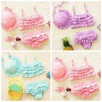 Bebê Swimsuit Pure Color Two-partido Princesa Swimwears Criança Terno Top Shorts Hat Children's Swimwear Crianças Crianças Bikini Bikini Three-Peça Beach Roupas WMQ684